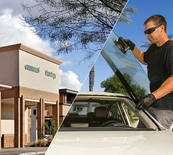 Mobile auto glass technician replacing a windshield at Alameda Crossing in Avondale, AZ