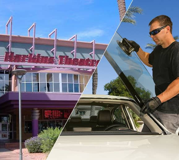 Mobile auto glass technician replacing a windshield at Gateway Pavilions in Avondale, AZ