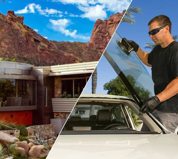 Mobile auto glass technician replacing a windshield at Sanctuary Camelback Mountain Resort in Paradise Valley, AZ