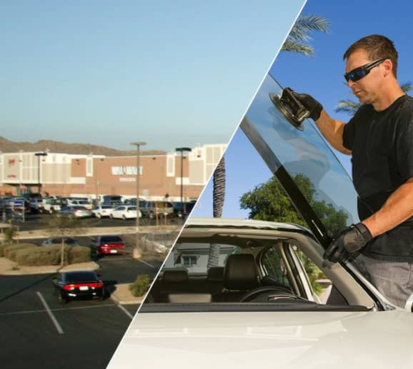 Mobile auto glass technician replacing a windshield at Elliot Rd/Priest Dr Area (The Groves) in Tempe, AZ